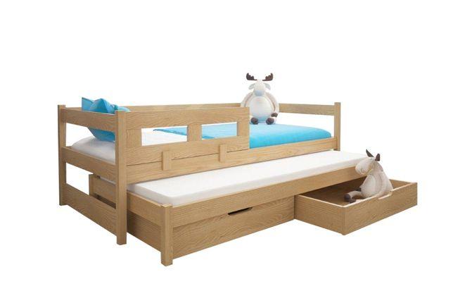 Łóżko parterowe Alan dwuosobowe z wysuwanym spaniem + materace gratis!