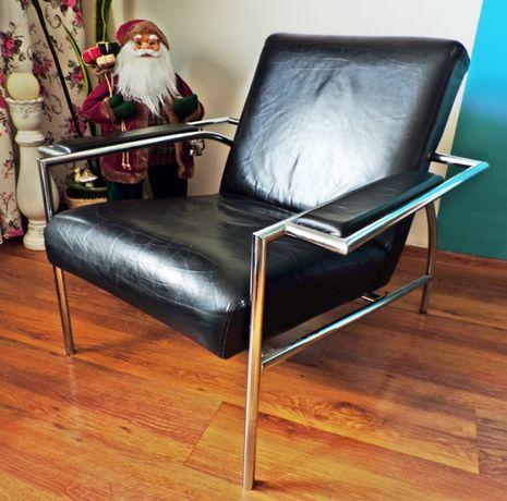 Desingerski Fotel Skórzany do salonu Loft Prawdziwa Skóra Vogue Chrom