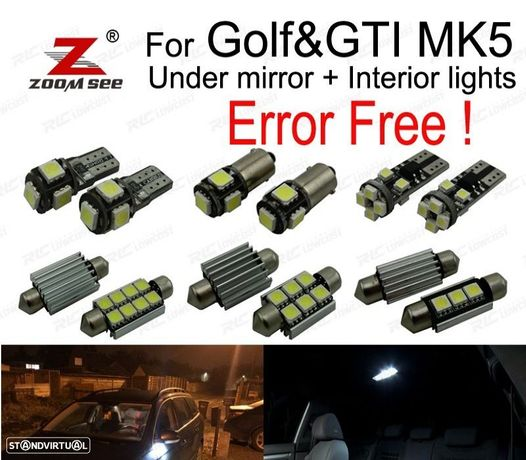 KIT COMPLETO DE 16 LÂMPADAS LED INTERIOR PARA GTI MKV GOLF 5 MK5 GOLF5 2006-2009