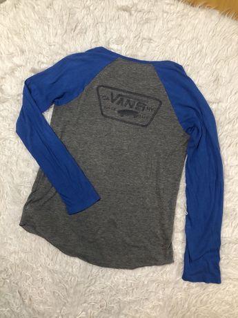 Bluzka koszulka z długim rękawem Vans rozmiar S szara niebieska