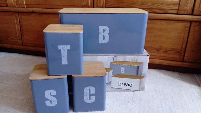Chlebak na pieczywo + dodatkowe puszki - komplet stalowo-bambusowy