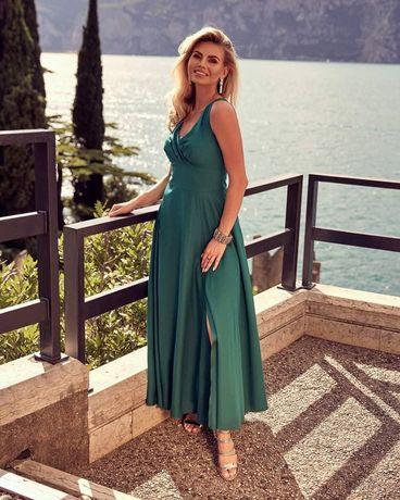 Sukienka długa zielona maxi kopertowa butelkowa zieleń wesele 40/L 48