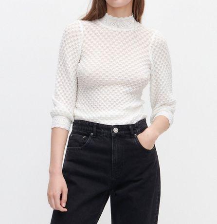 Biała ażurowa bluzka ze stójką Reserved rozmiar 38 Nowa z metką