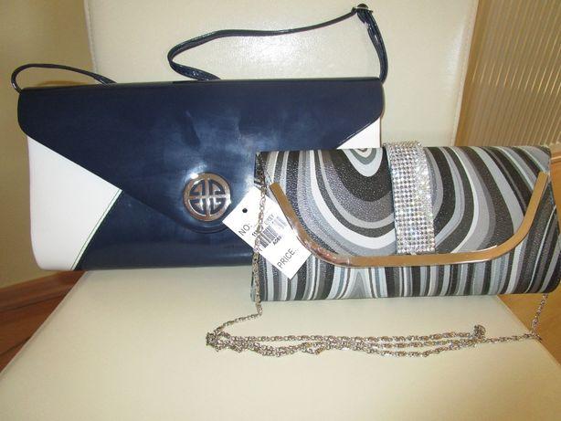 2 eleganckie torebki, kopertówki, nowe (z metką)