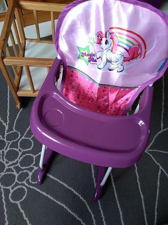Kołyska drewniana fotelik do karmienia Hauck dla lalek zestaw