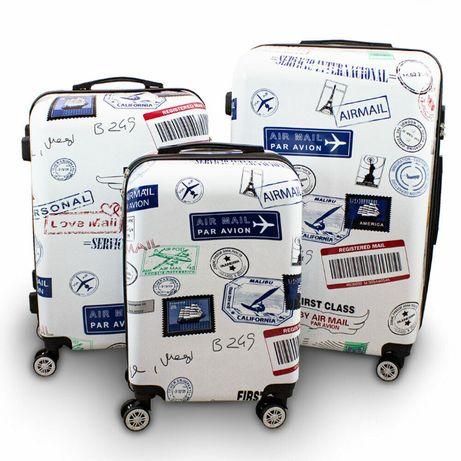 17315 Zestaw walizek podróżnych BERWIN STAMPS 3 sztuki na kółkach
