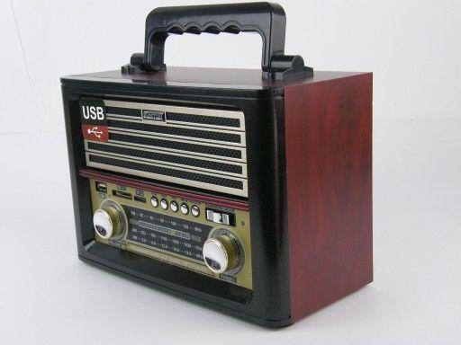 Radio retro MP3 USB SD AUX Akumulator Baterie 230V złote