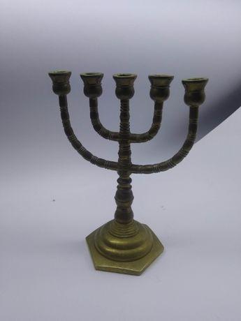 Stara Menora mosiężna świecznik żydowski