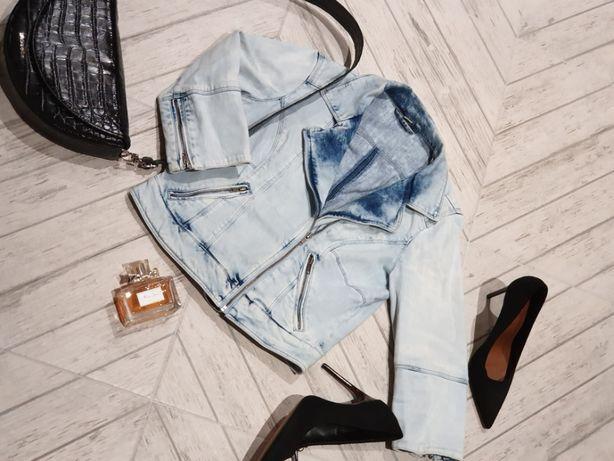 Bershka jeansowa marmurkowa ramoneska zamki 40 metki 189 zl