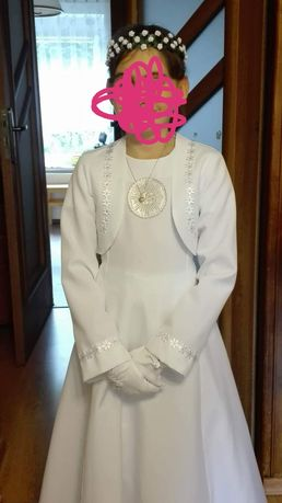 Sukienka Alba komunijna, halka, bolerko, wianek, rekawiczki, torebka