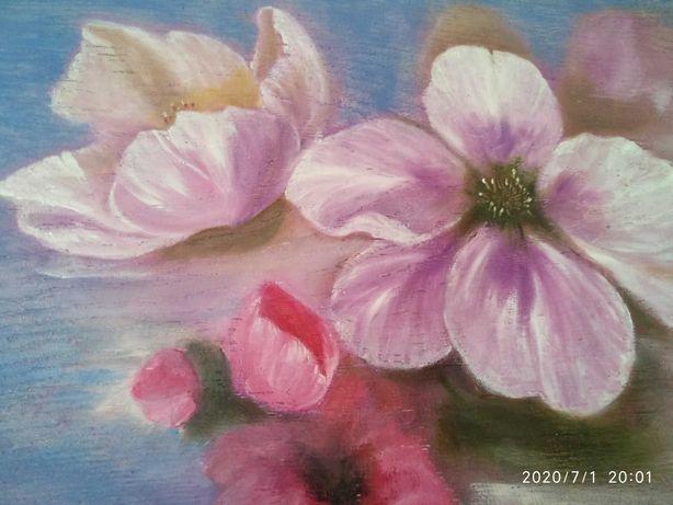 Картина маслом яблоня ветка яблони цветы сакура вишня зима новый год