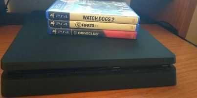 PS4 SLIM COM 3 JOGOS E UM COMANDO  (Drive Club, Fifa 20, Watch Dogs 2)
