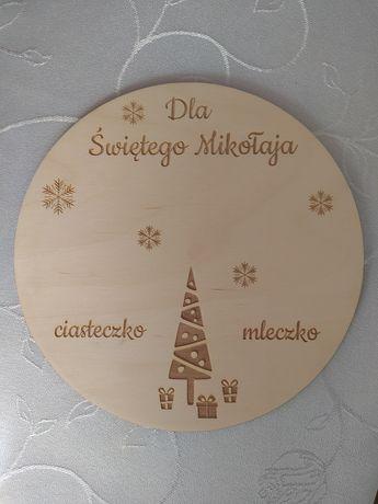 Podkładka, tacka na mleko i ciasteczko dla świętego Mikołaja.