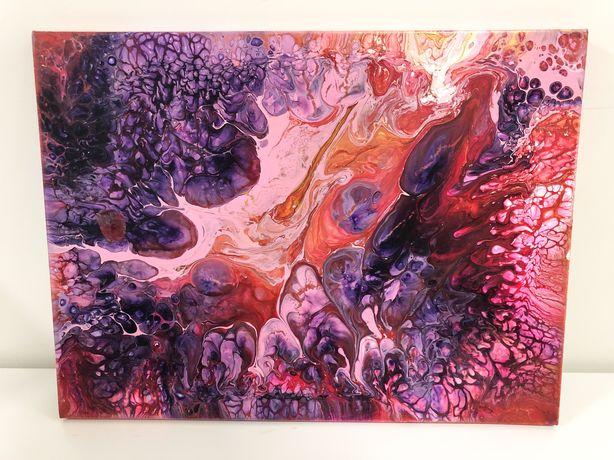 Картина на холсте с подрамником, акрил, fluid art
