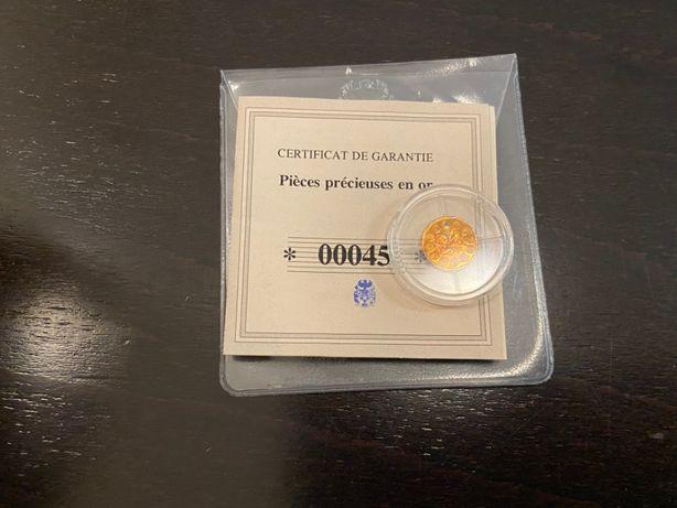 Złota moneta, żeton kolekcjonerski - 10 ans Euro Coffre tresor + cert.