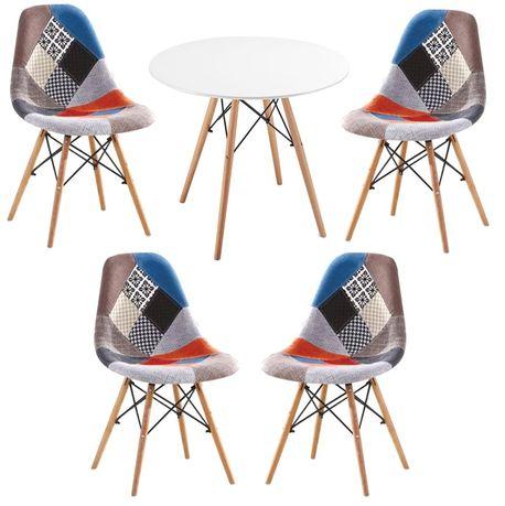 Zestaw stół okrągły i 4 krzesła patchwork Simon A