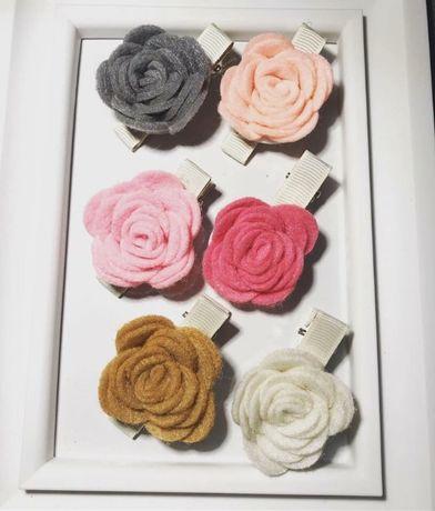Spinki opaski kwiatki z filcu