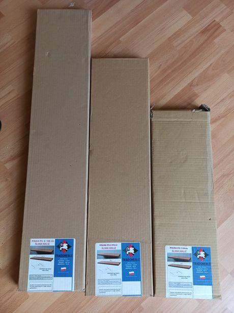 Zestaw 3 nowych półek ściennych 60, 80 i 100cm. NIEWIDOCZNE MOCOWANIE