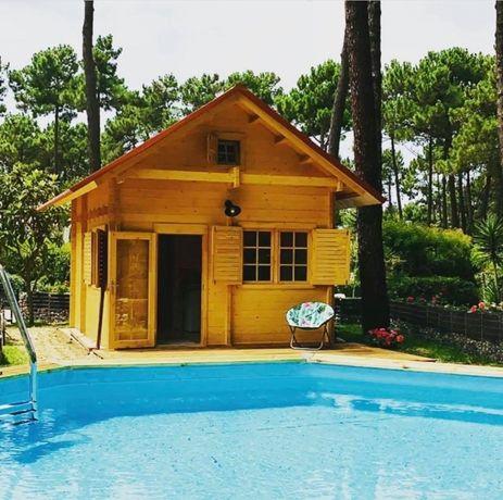 Casa de Madeira Pré-fabricada 5mx4m (20m2 + Sótão)