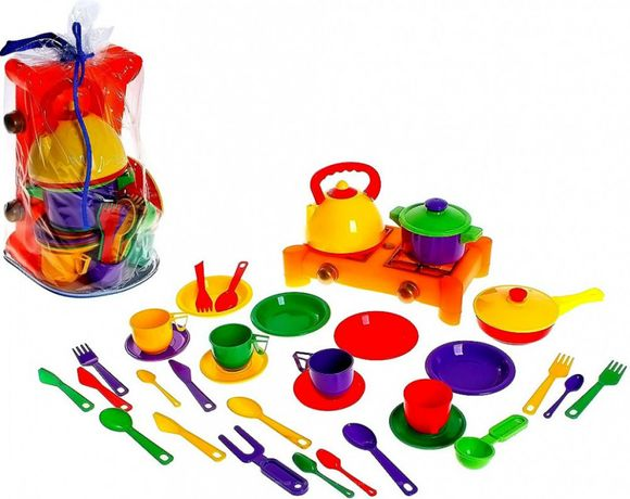 Игрушечный набор посуды с газовой плитой (34 пр.)