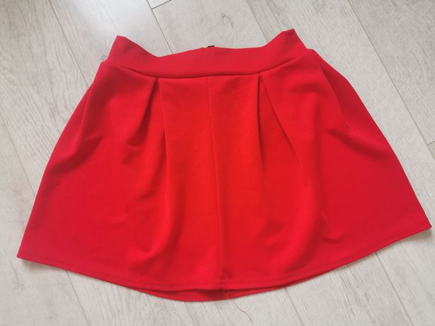 Spódniczka mini M rozkloszowana czerwona zakładki