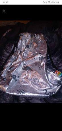 Plecak worek srebrny