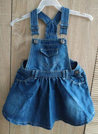 Sukienka spódniczka ogrodniczka 92 jeansowa cudo