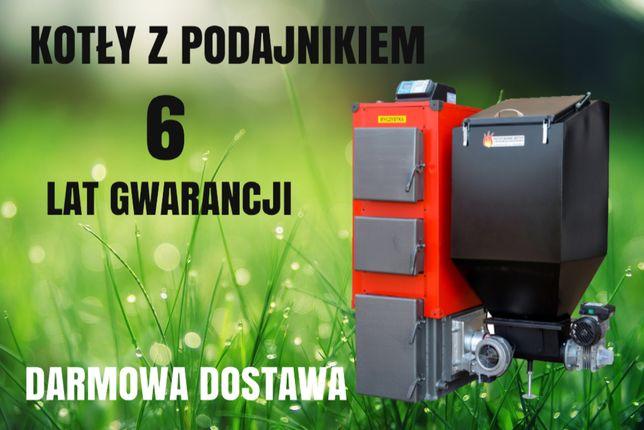 KOTŁY 7 kW do 45 m2 Piec Kocioł na EKOGROSZEK z PODAJNIKIEM 4 5 6