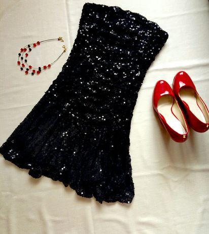 Платье-бандо пайетки S