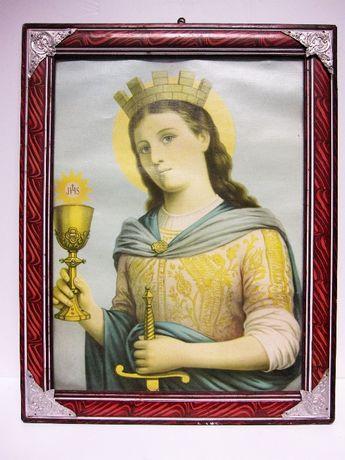 antiga imagem religiosa de Santa Barbara com moldura