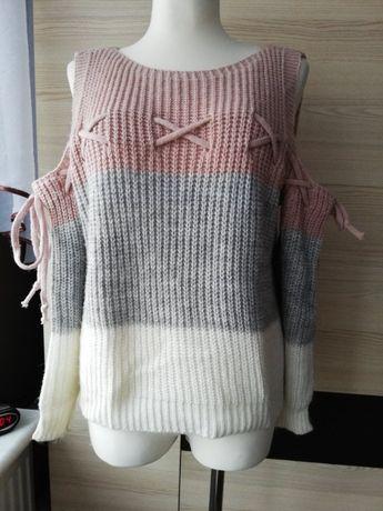Śliczny włoski sweterek damski z akrylu/ Odkryte ramiona/ Rozm. S-2XL