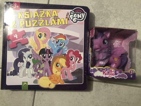 Książka z 4 puzzlami, kucyk fioletowy. My little pony