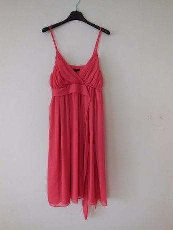 elegancka czerwona sukienka na ramiaczka mgielka zwiewna midi 38 40 LM