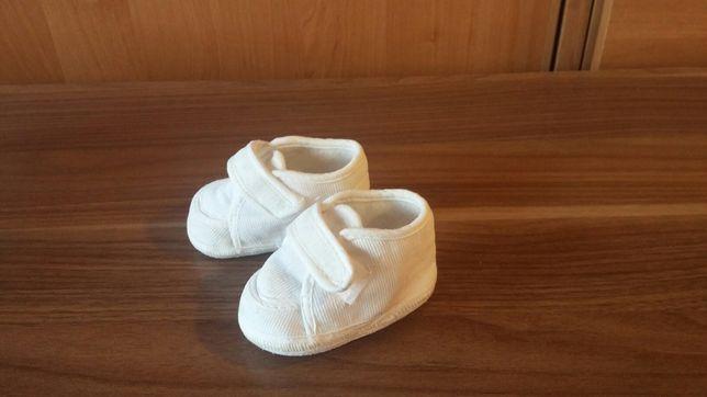 Kremowe sztruksowe buciki niemowlęce roz. 17