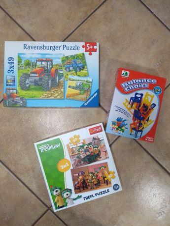 Puzzle, Balansujące krzesła, Wałek, Zabawki gumowe i Kaczka
