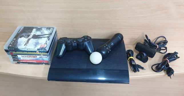 Konsola PS3 Super Slim + 7 Gier + Kamerka + Move + Pad + Okablowanie