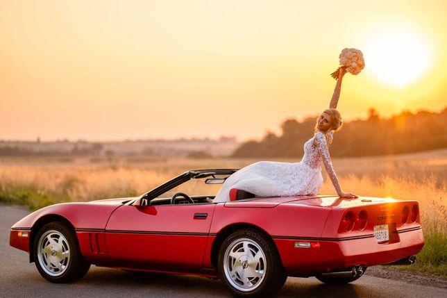Retro auto do Ślubu - czerwone cabrio / kabrio - Corvette C4 '84
