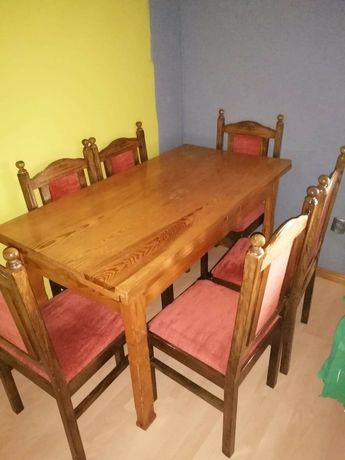 Stół i 6 krzeseł drewniany