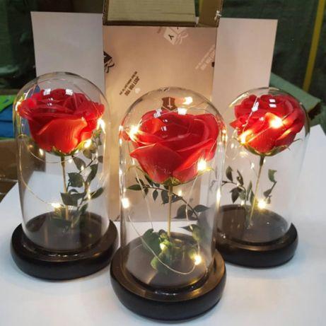 Роза в стеклянной колбе с подсветкой,ночник, вечная роза, 17 СМ