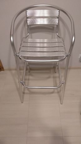 Krzesło barowe hoker Surano srebrne lekkie 1szt. stabilne