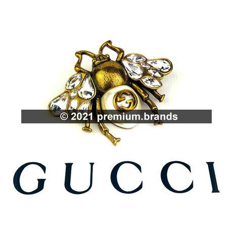 Metalowa Broszka Gucci Pszczoła - kryształki, antyczne złoto, pudełko