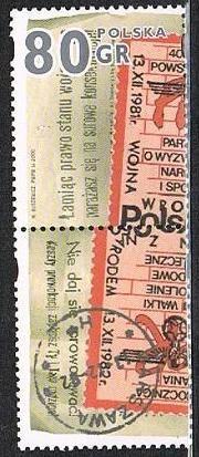 Znaczki polskie 3726 II + przywieszka dolna - Stan wojenny a poczta
