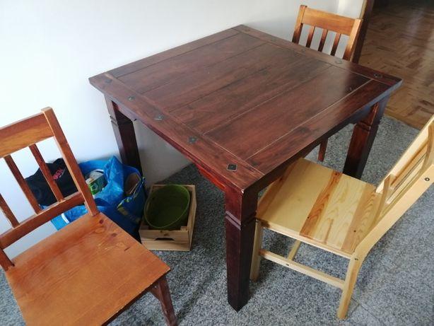 Stół lite drewno 90x90 Styl antyczny