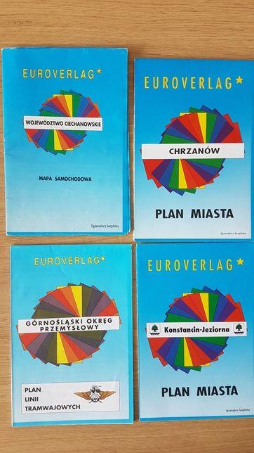 Kolekcja 20 planów miast i map z Polski Euroverlag