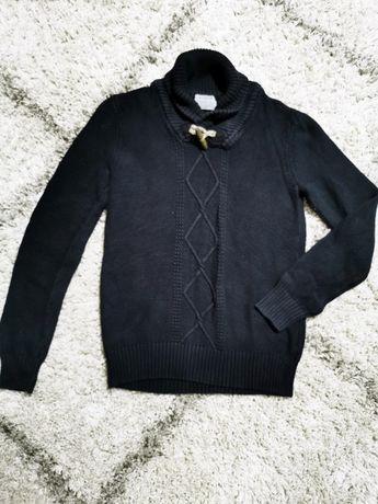 Granatowy sweter pull&bear warkocz meski norweski gruby M