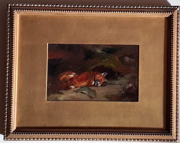 Óleo sobre Cartão representando Raposa; Século XIX Escola Inglesa;