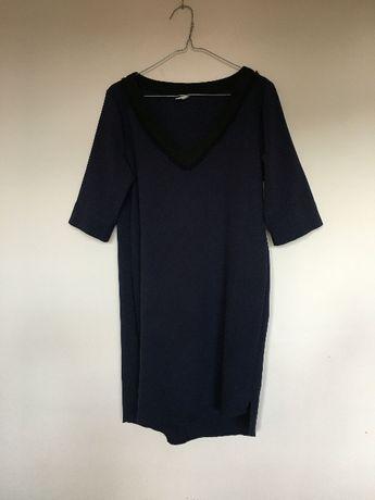 Granatowa krótka z koronką sukienka tunika M