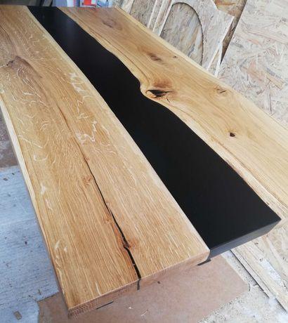 Stół/stolik kawowy, żywica epoksydowa stół drewniany dąb