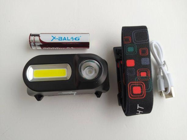 Налобный фонарь, фонарик аккумуляторный XPE/COB + АКБ