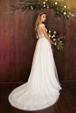 Свадебное платье новое Pollardi (Elegant Calla) + подарок украшение